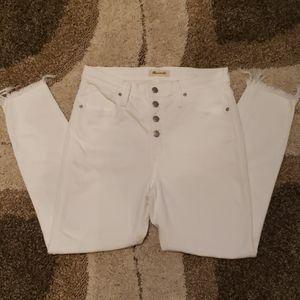 Like New Madewell high rise raw hem white jeans